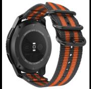 Strap-it® Samsung Galaxy Watch 3 - 41mm nylon gesp band (zwart/oranje)