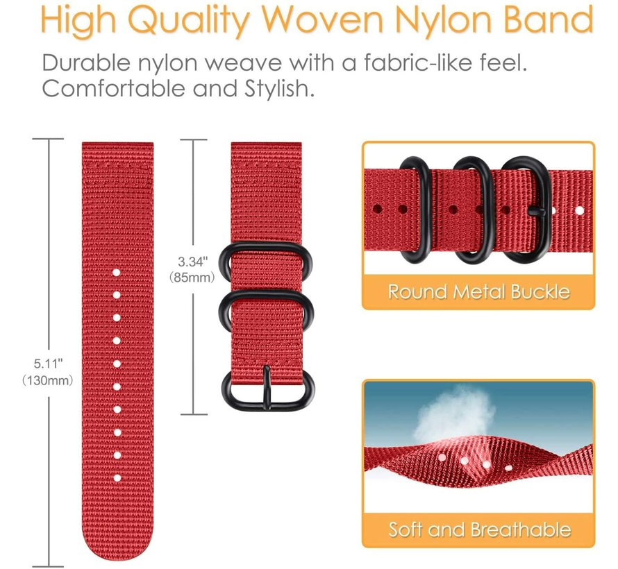 Strap-it® Garmin Venu nylon gesp band (rood)