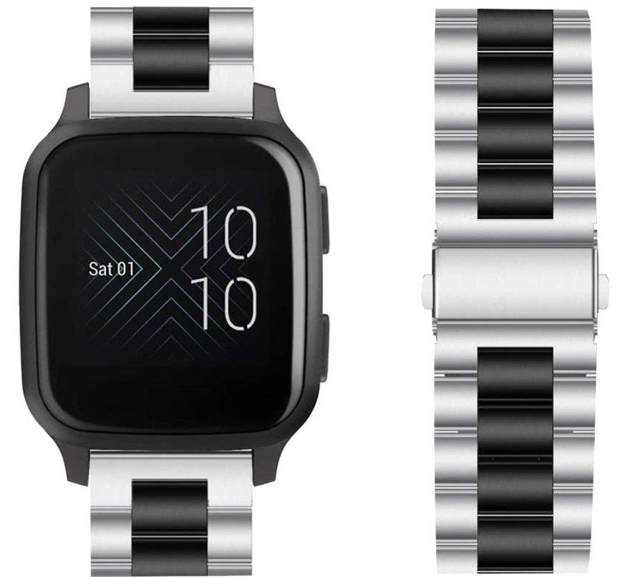 Strap-it® Garmin Venu SQ stalen bandje rvs - bandbreedte 20mm - zilver/zwart