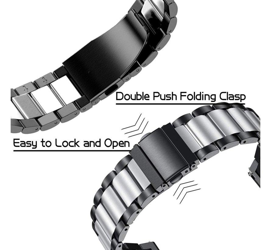 Strap-it® Garmin Venu SQ stalen band - bandbreedte 20mm - zwart/zilver