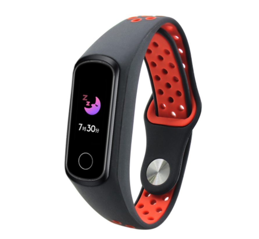 Strap-it® Honor band 4 / 5 sport band (zwart / rood)