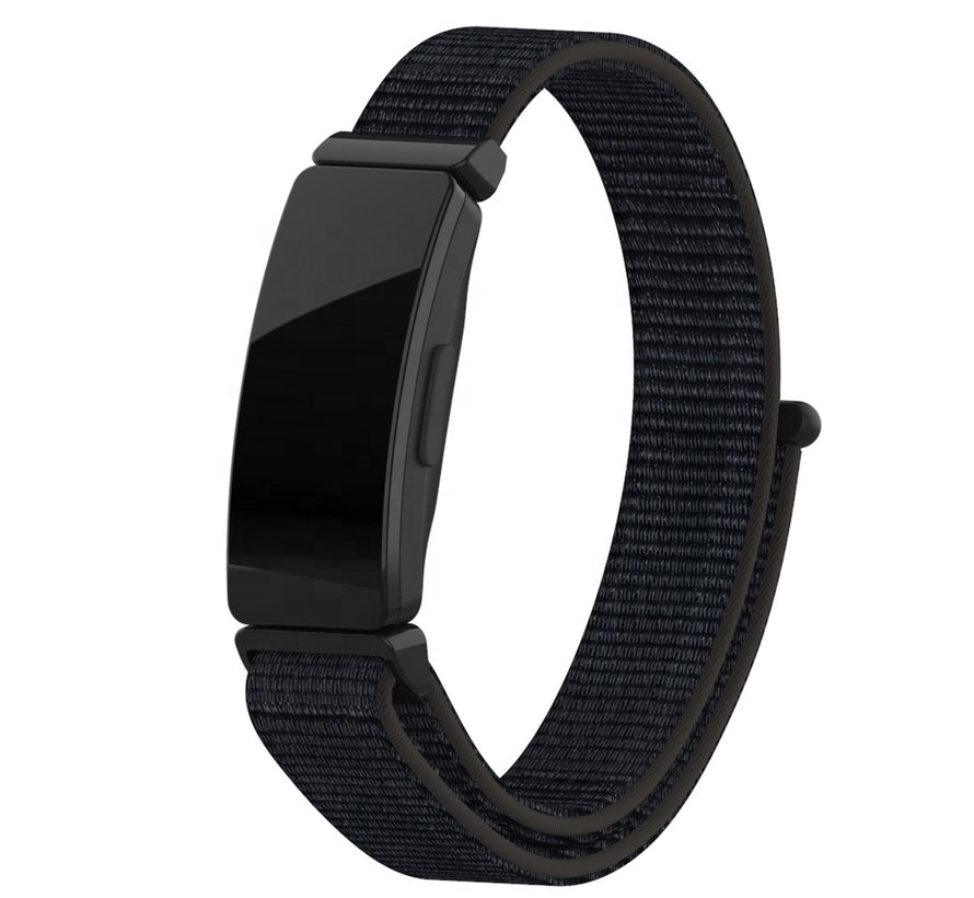 Strap-it® Fitbit Inspire nylon bandje (zwart)