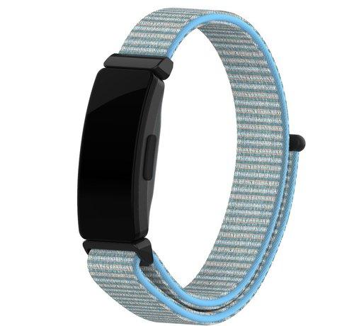 Strap-it® Strap-it® Fitbit Inspire nylon bandje (lichtblauw mix)