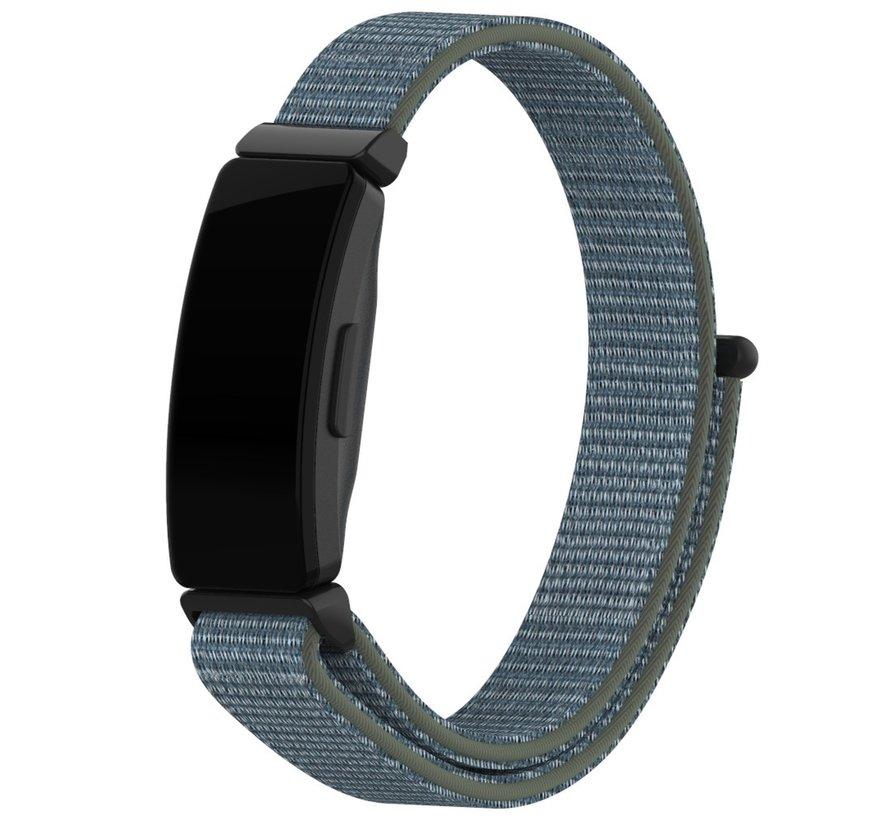 Strap-it® Fitbit Inspire nylon bandje (groen-grijs)