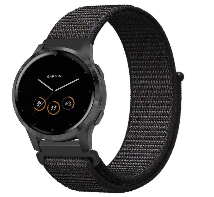 Strap-it® Garmin Vivoactive 4s nylon band - 40mm - zwart