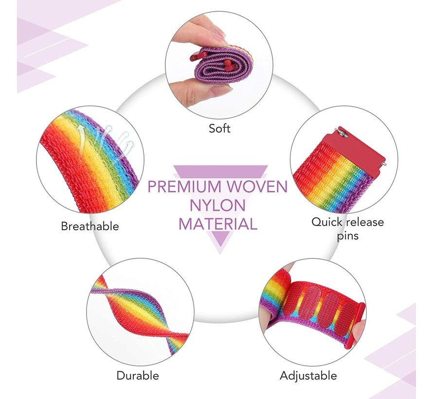 Strap-it® Garmin Vivoactive 4 nylon band - 45mm - regenboog