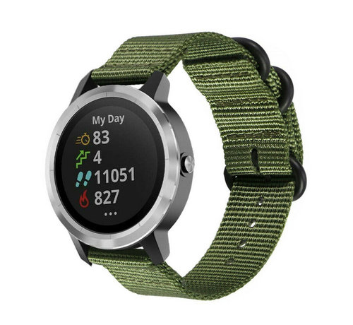 Strap-it® Strap-it® Garmin Vivoactive 3 nylon gesp band (groen)