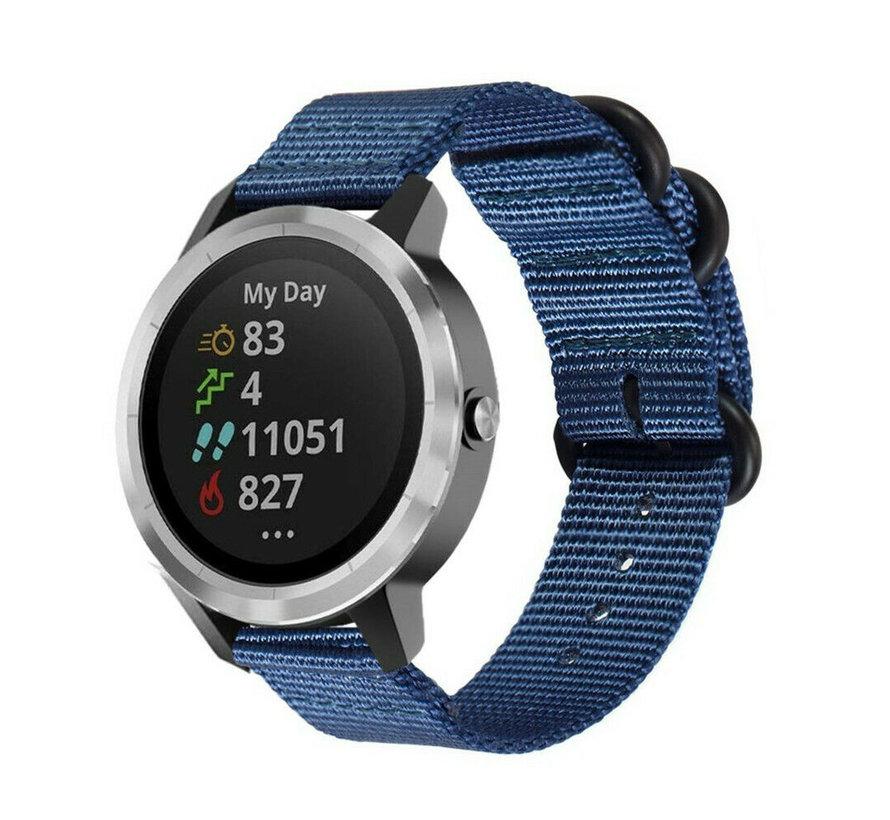 Strap-it® Garmin Vivoactive 3 nylon gesp band (blauw)