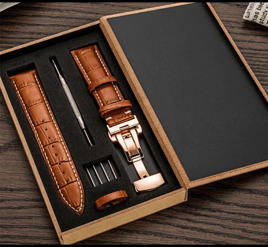 Strap-it® Samsung Galaxy Watch 45mm / 46mm luxe leren band (bruin)