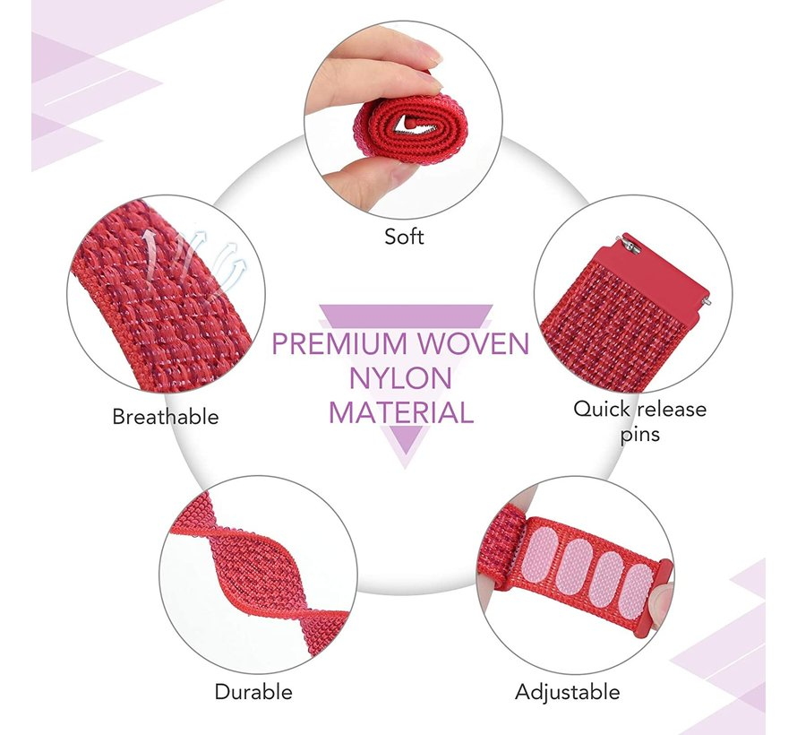 Strap-it® Garmin Venu 2s nylon band - 40mm - rood