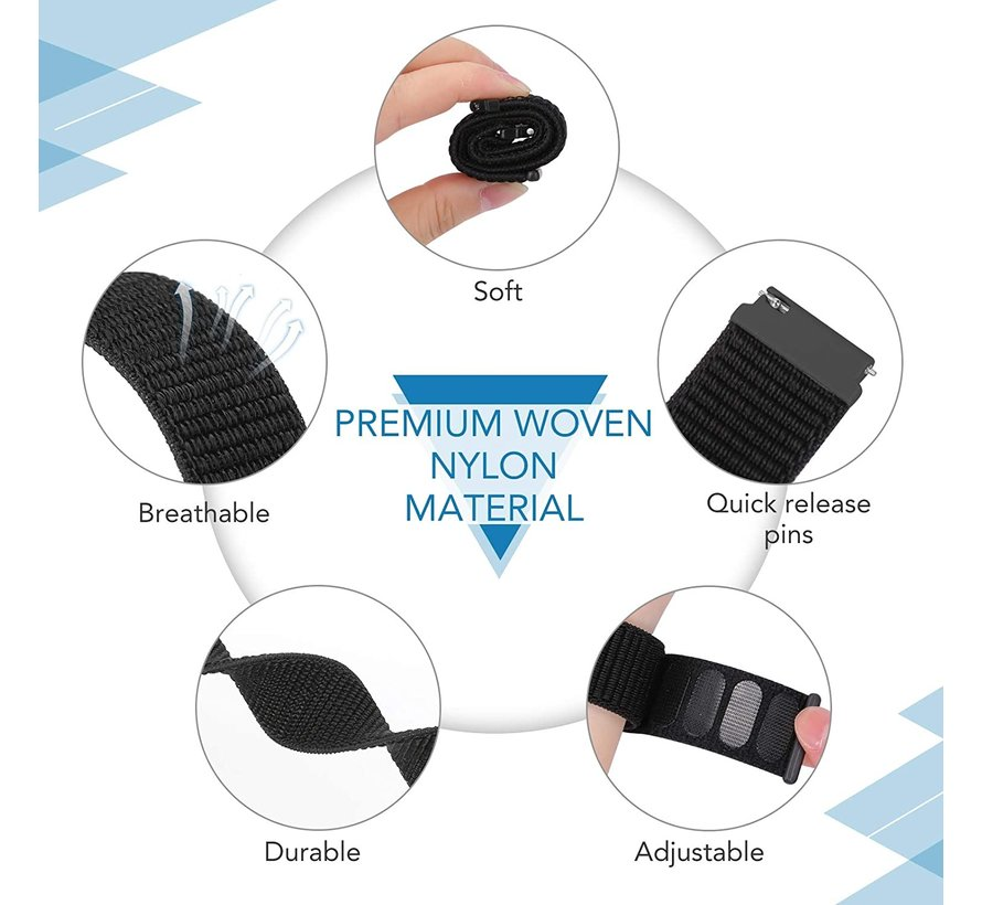 Strap-it® Garmin Venu 2 nylon band - 45mm - zwart