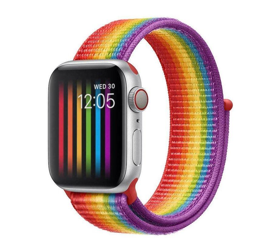 Strap-it® Apple Watch nylon band (regenboog)