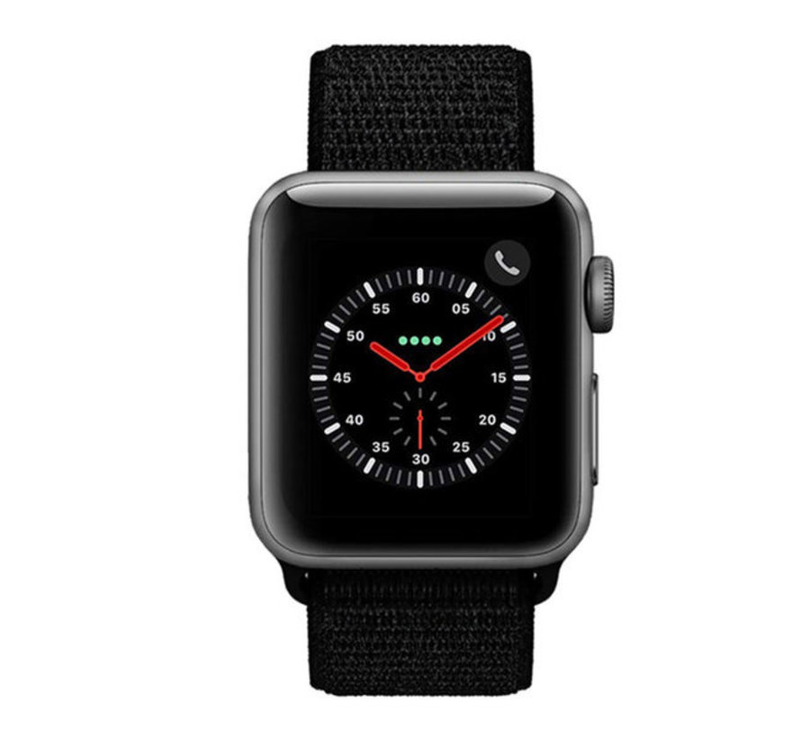 Strap-it® Apple Watch nylon bandje (zwart)