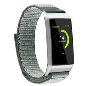 Strap-it® Fitbit Charge 4 nylon band (groen-grijs)