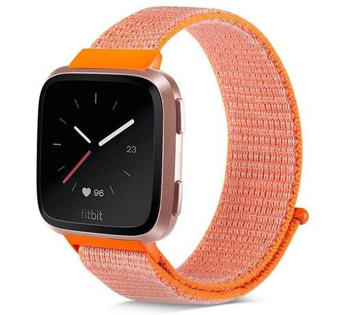 Strap-it® Strap-it® Fitbit Versa nylon bandje (oranje)