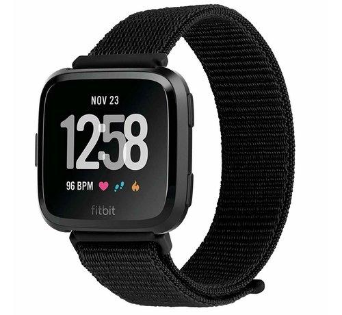Strap-it® Strap-it® Fitbit Versa nylon bandje (zwart)