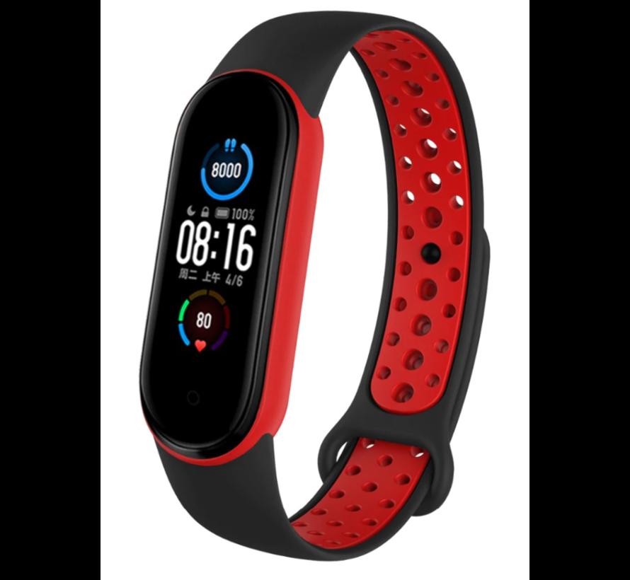 Strap-it® Xiaomi Mi band 6 sport bandje (zwart/rood)