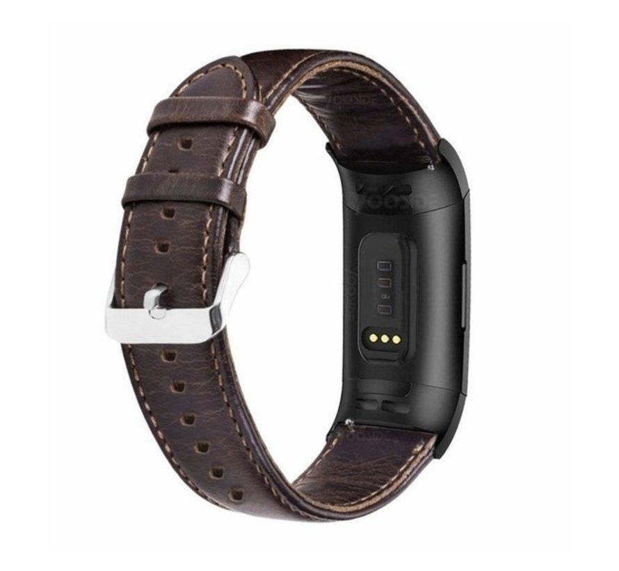Strap-it® Fitbit Charge 3 leren bandje (donkerbruin)