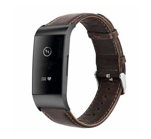 Strap-it® Strap-it® Fitbit Charge 3 leren bandje (donkerbruin)