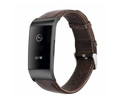 Strap-it® Strap-it® Fitbit Charge 4 leren bandje (donkerbruin)