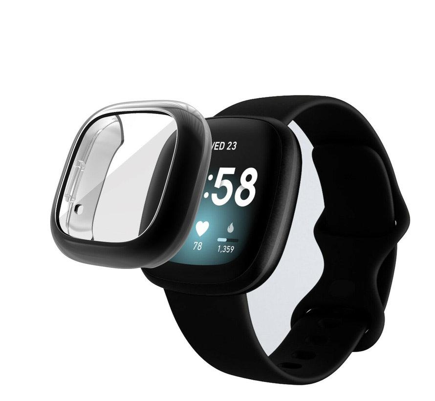 Strap-it® Fitbit Sense silicone case (zwart)
