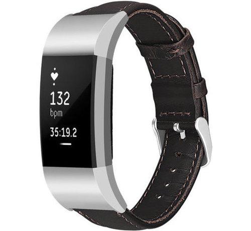 Strap-it® Strap-it® Fitbit Charge 2 leren bandje (donkerbruin)