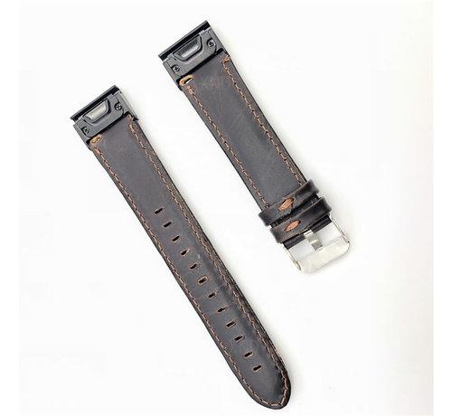 Strap-it® Strap-it® Garmin Fenix 5 / 6 leren bandje (donkerbruin)