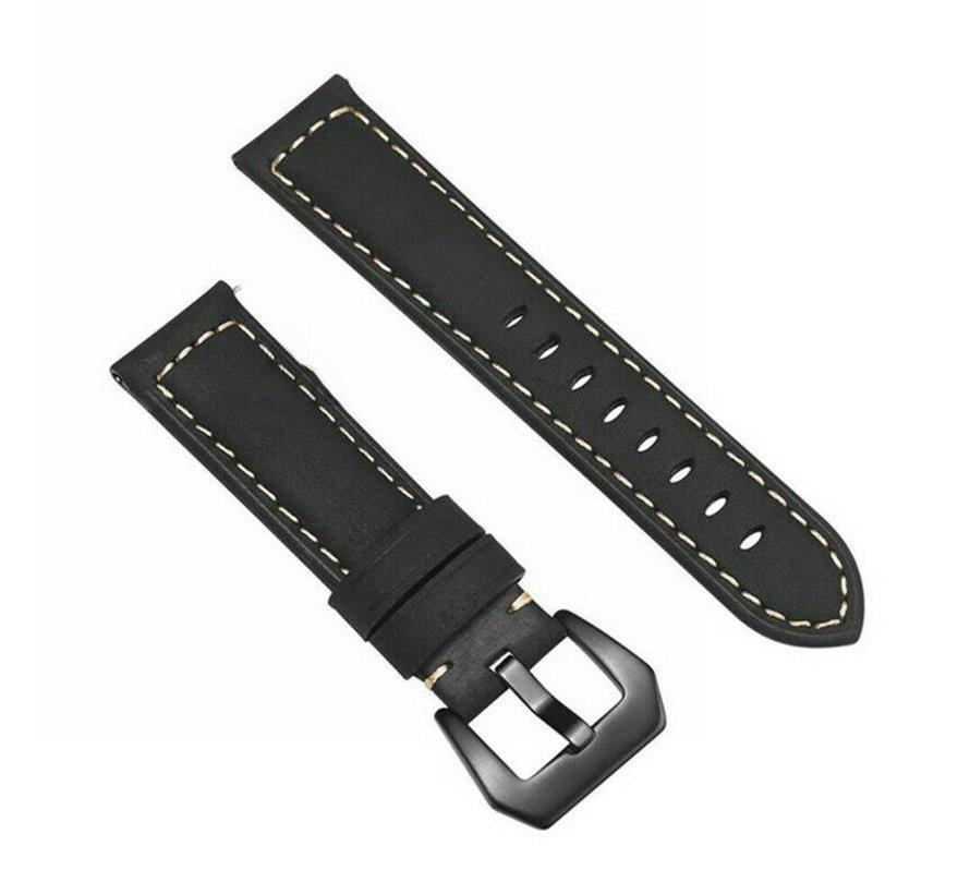 Strap-it® Leren horlogeband 20mm - universeel - zwart