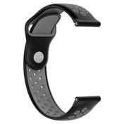 Strap-it® Rubber horlogeband 20mm sport universeel (zwart/grijs)