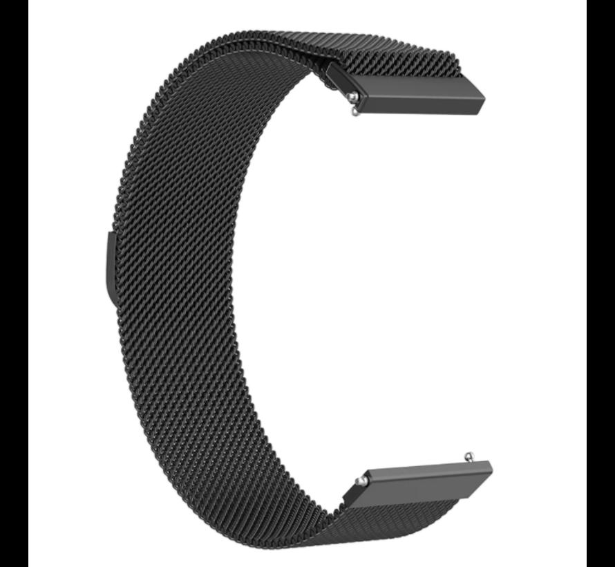 Strap-it® Milanese horlogeband 20mm - universeel - zwart