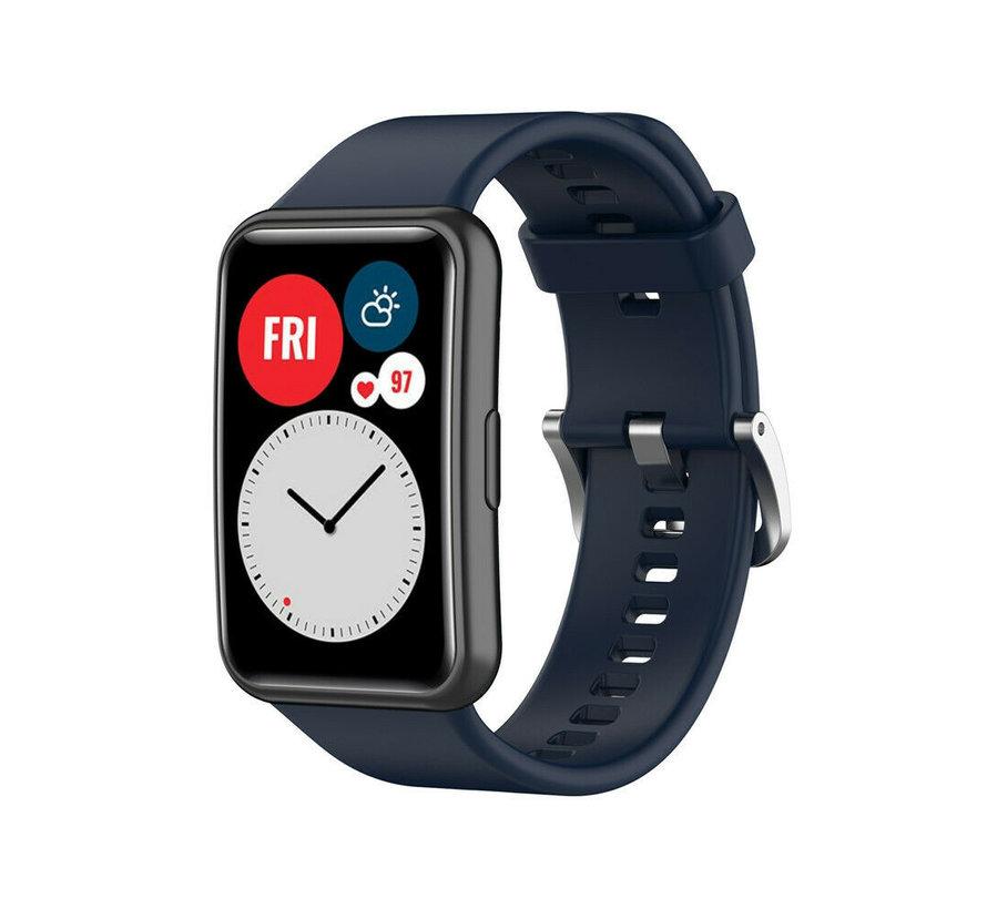Strap-it® Huawei Watch Fit siliconen bandje (donkerblauw)
