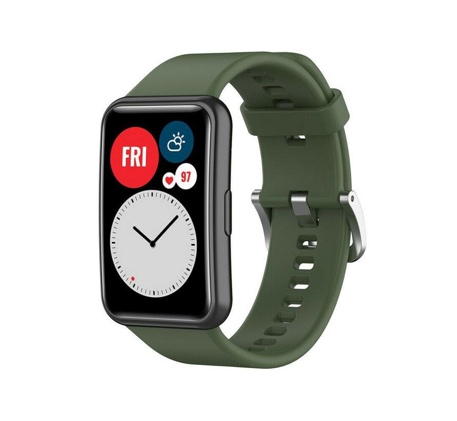 Strap-it® Huawei Watch Fit siliconen bandje (donkergroen)