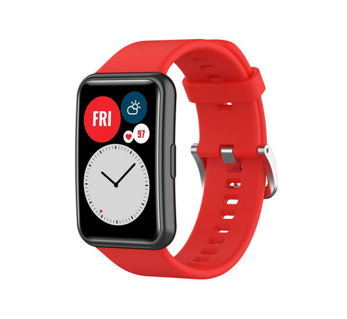 Strap-it® Strap-it® Huawei Watch Fit siliconen bandje (rood)