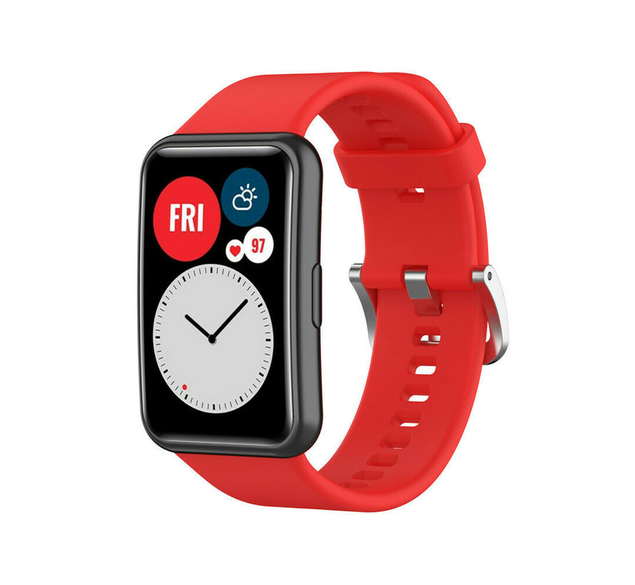 Strap-it® Huawei Watch Fit siliconen bandje (rood)