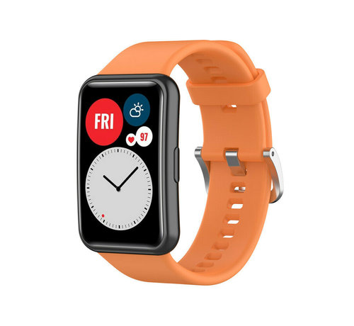 Strap-it® Strap-it® Huawei Watch Fit siliconen bandje (oranje)