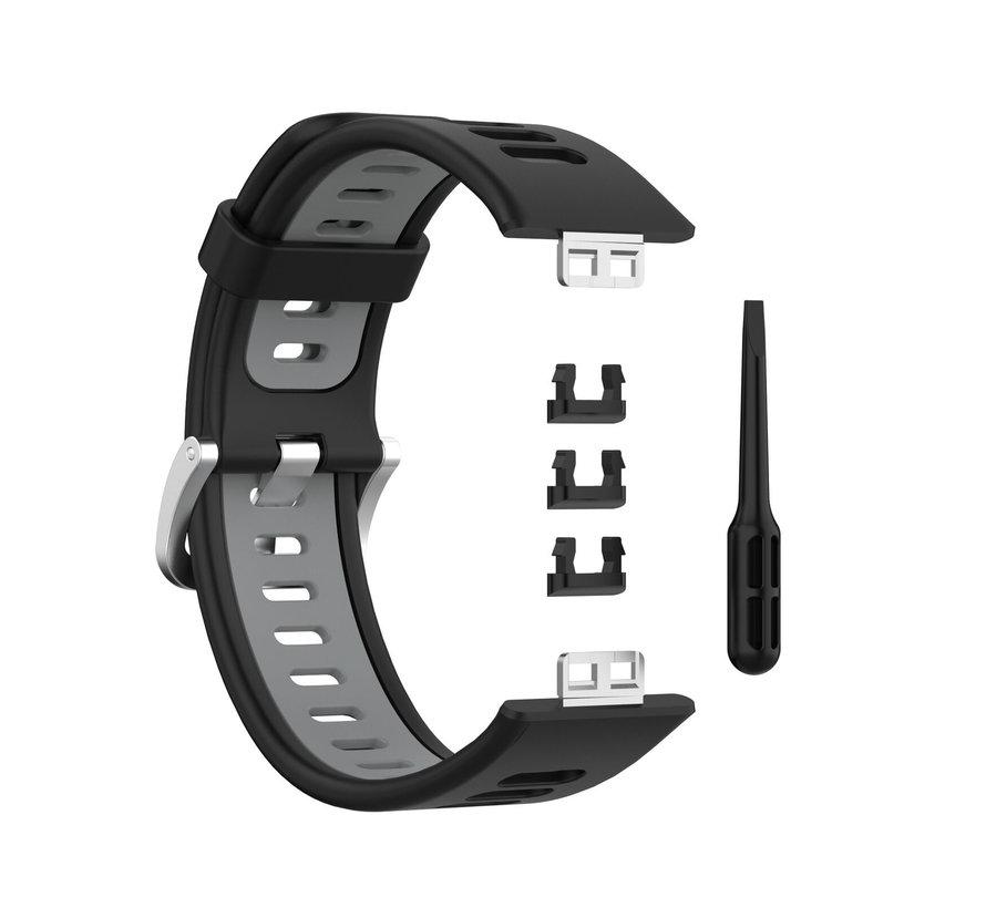 Strap-it® Huawei Watch Fit sport gesp bandje (zwart/grijs)
