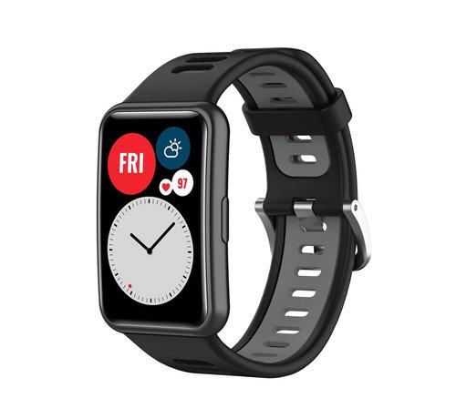Strap-it® Strap-it® Huawei Watch Fit sport gesp bandje (zwart/grijs)