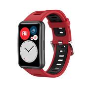 Strap-it® Huawei Watch Fit sport gesp bandje (rood/zwart)