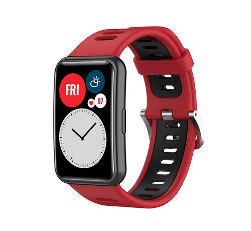 Strap-it® Strap-it® Huawei Watch Fit sport gesp bandje (rood/zwart)