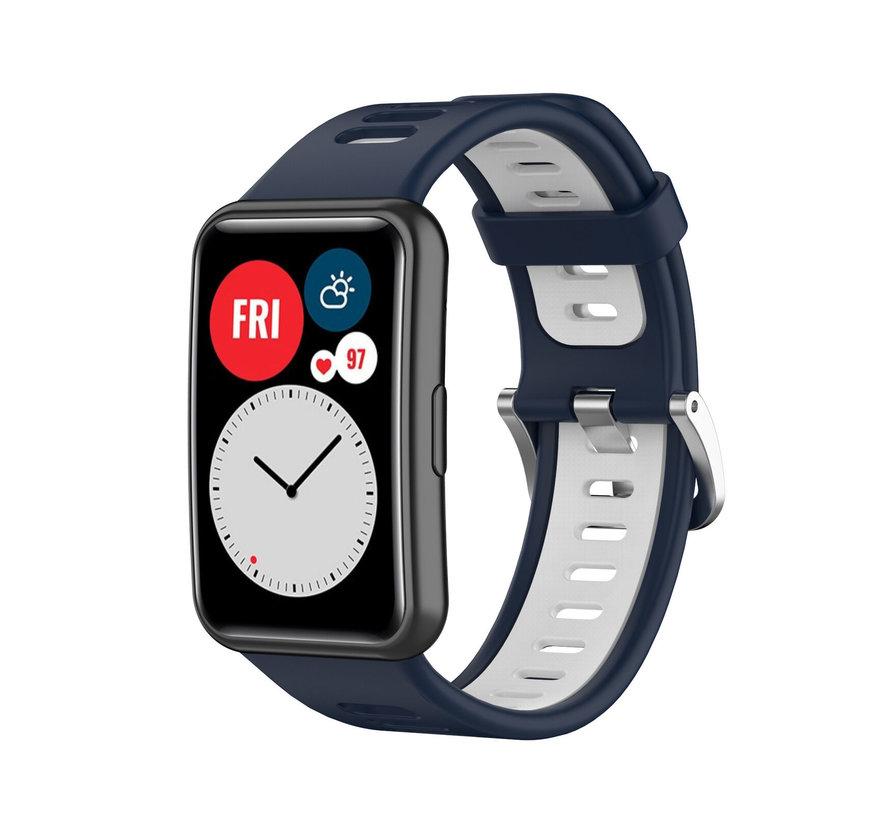Strap-it® Huawei Watch Fit sport gesp bandje (blauw/wit)