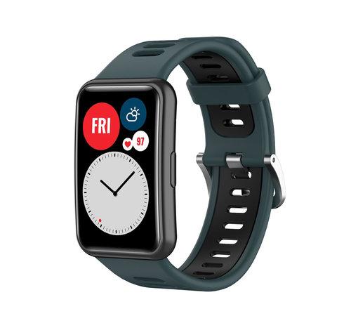 Strap-it® Strap-it® Huawei Watch Fit sport gesp bandje (groen/zwart)