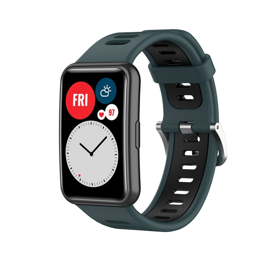 Strap-it® Huawei Watch Fit sport gesp bandje (groen/zwart)