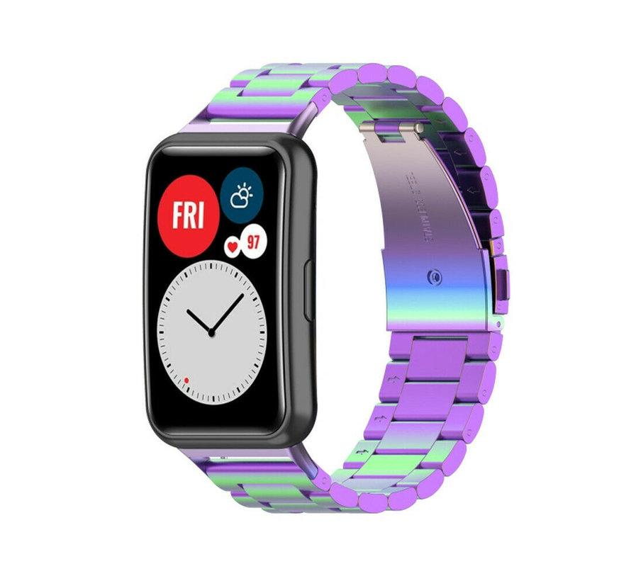 Strap-it® Huawei Watch Fit stalen band (regenboog)