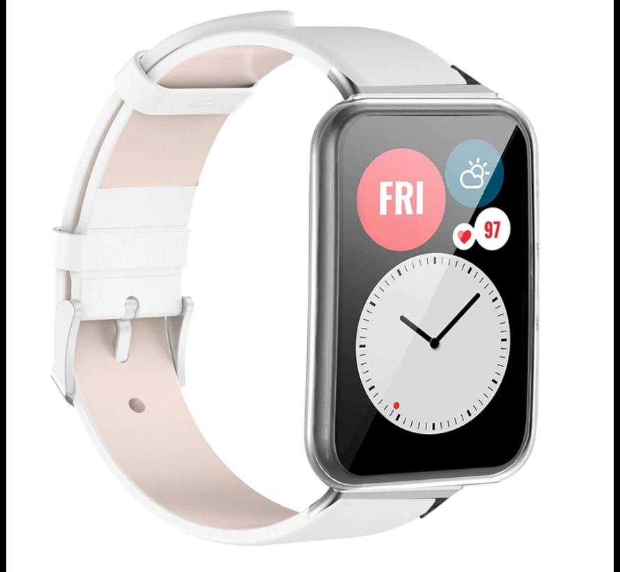 Strap-it® Huawei Watch Fit leren bandje (wit)