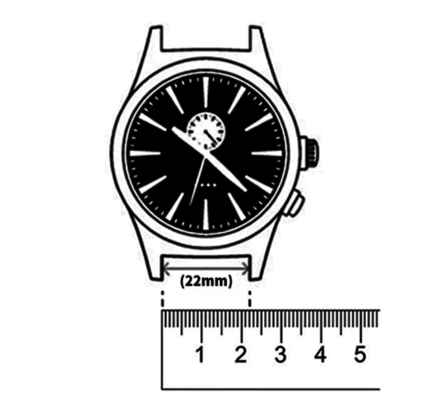 Strap-it® Horlogeband 22mm sport universeel (zwart/grijs)