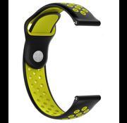 Strap-it® Horlogeband 22mm sport universeel (zwart/geel)
