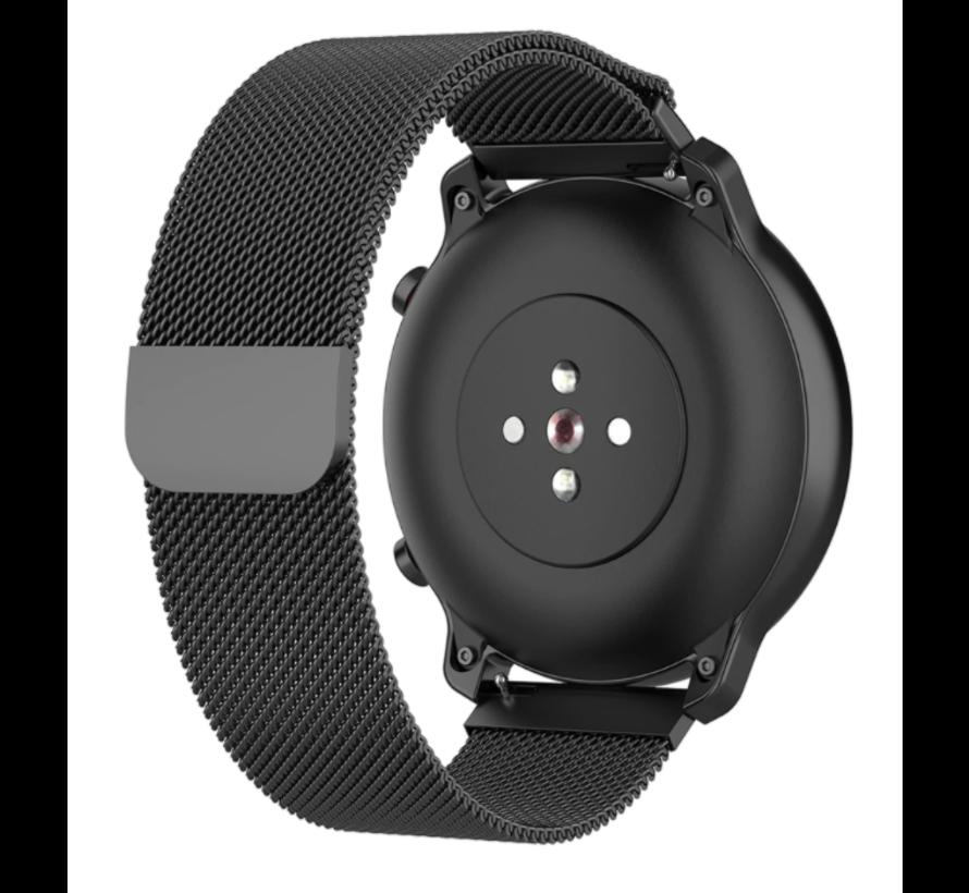 Strap-it® Milanese horlogeband 22mm - universeel - zwart
