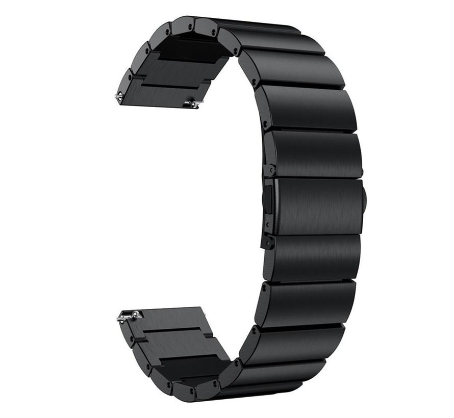 Strap-it® metalen horlogeband 22mm - universeel - zwart