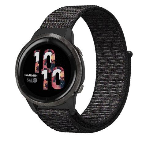 Strap-it® Strap-it® Garmin Venu 2 nylon band - 45mm - zwart