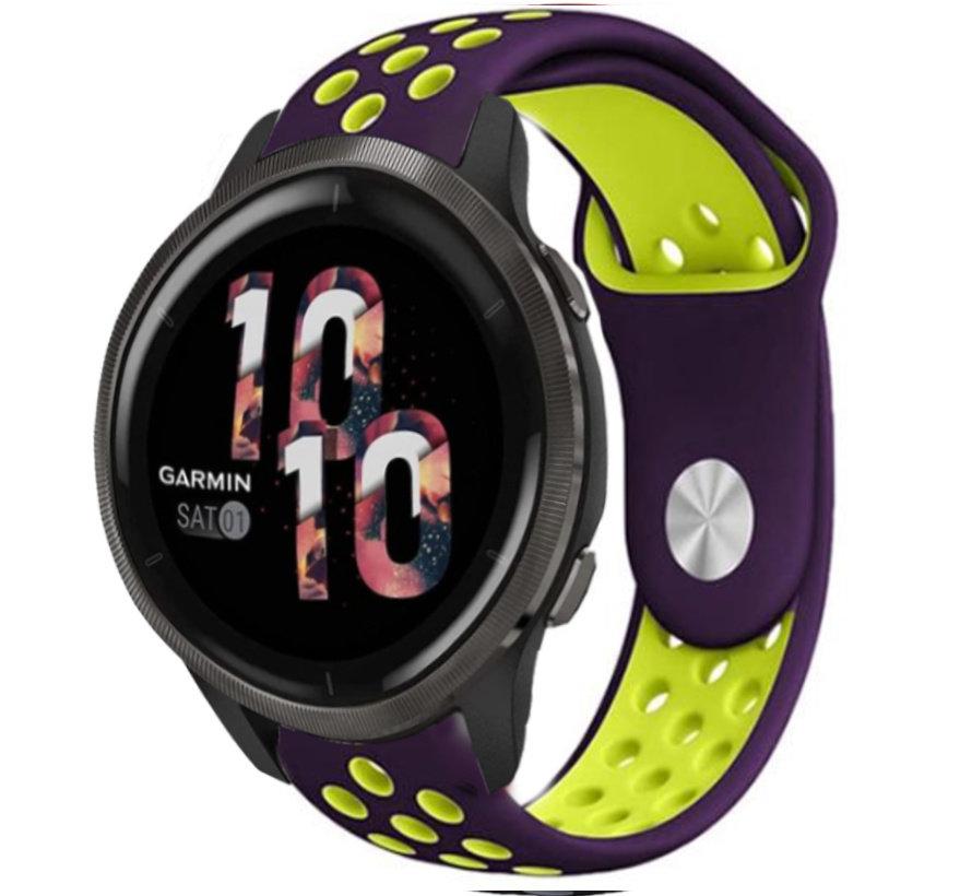 Strap-it® Garmin Venu 2 sport bandje - 45mm - paars/groen